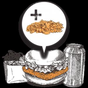 Grubers Burgers | Riccardo Giraudi | Restaurant | Formule Cheesegrubers Chicken Popcorn